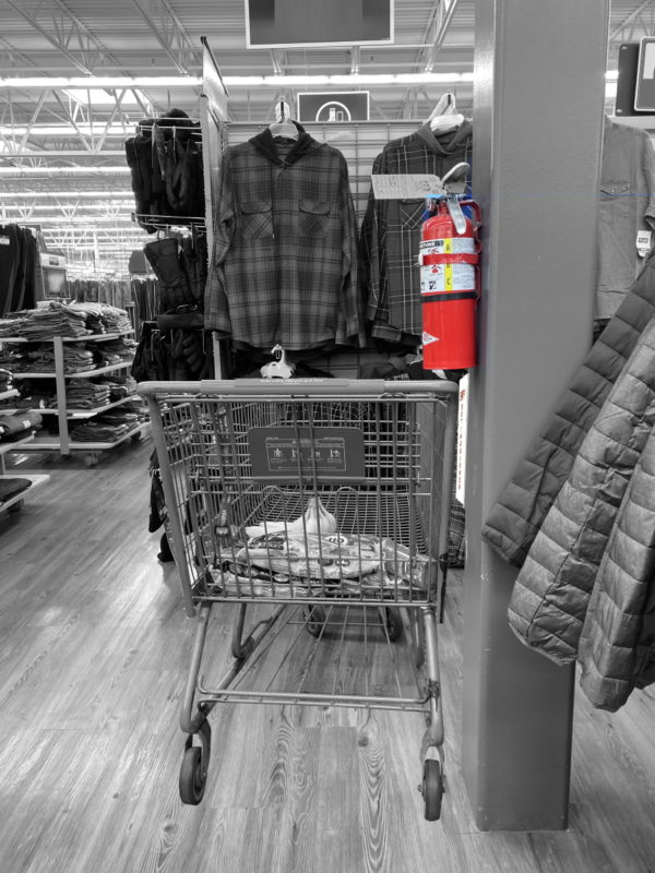 Fire Extinguisher On Structural Column With Cart and Easy Mount Bumper in Retail Store - Black and White
