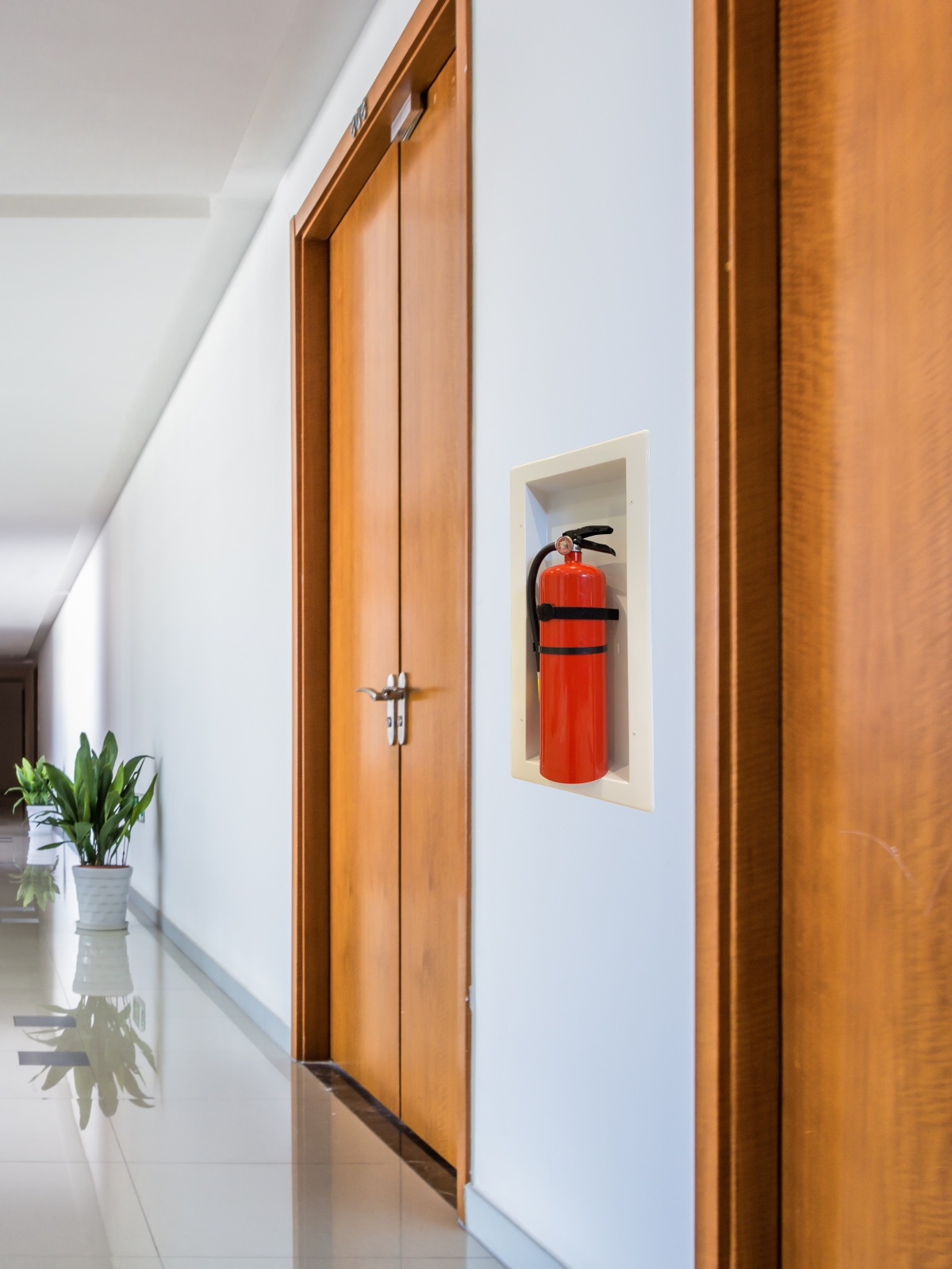 Easy Comply Cabinet with Extinguisher in a Corridor