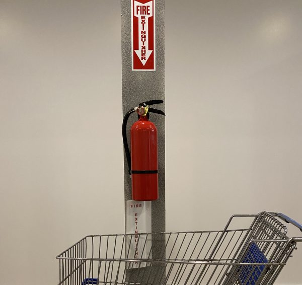 Extinguisher and Shopping Cart with Vertical Extension Side